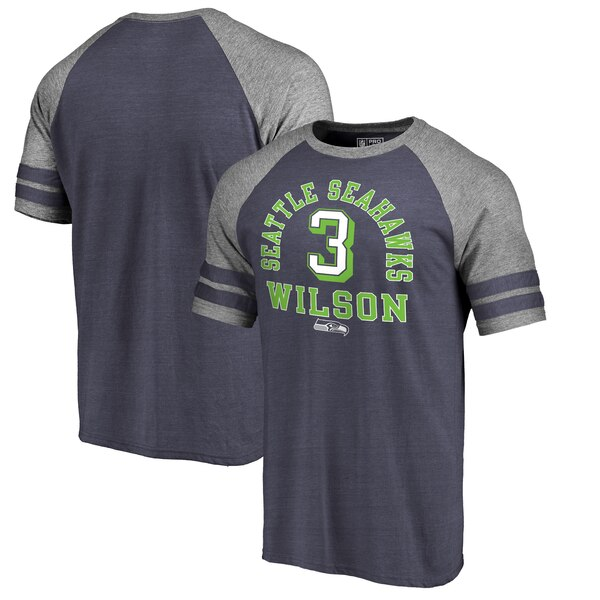 Russell Wilson Seattle Seahawks NFL Pro Line by Fanatics Branded Team Elite Tri-Blend T-Shirt - College Navy