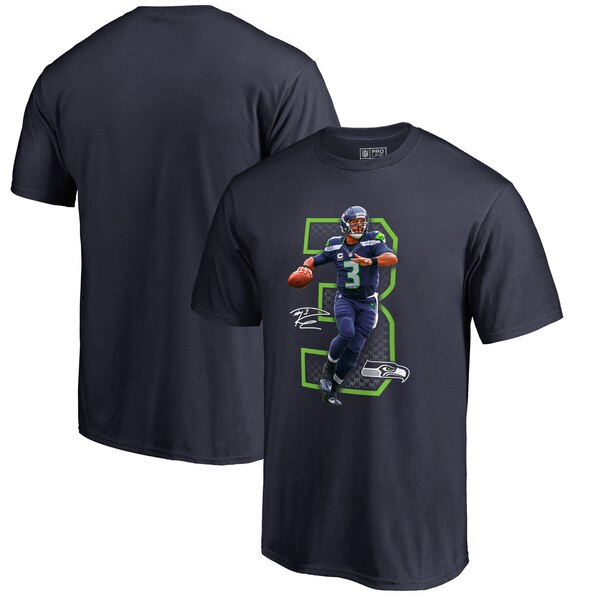 Russell Wilson Seattle Seahawks NFL Pro Line by Fanatics Branded Powerhouse T-Shirt - Navy