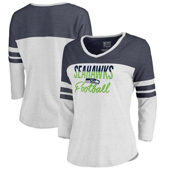 3750d617 Seattle Seahawks NFL Pro Line by Fanatics Branded Women's Plus Size Color  Block 3/4 Sleeve Tri-Blend T-Shirt - White