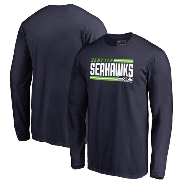 Seattle Seahawks NFL Pro Line by Fanatics Branded Iconic Collection On Side Stripe Long Sleeve T-Shirt - College Navy