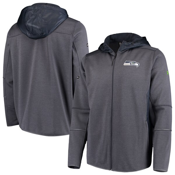 Seattle Seahawks Under Armour Combine Authentic Performance Full-Zip Swacket - Charcoal