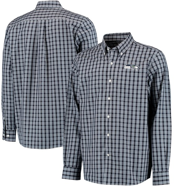 Seattle Seahawks Cutter & Buck Discovery Park Plaid Long Sleeve Woven Shirt - College Navy