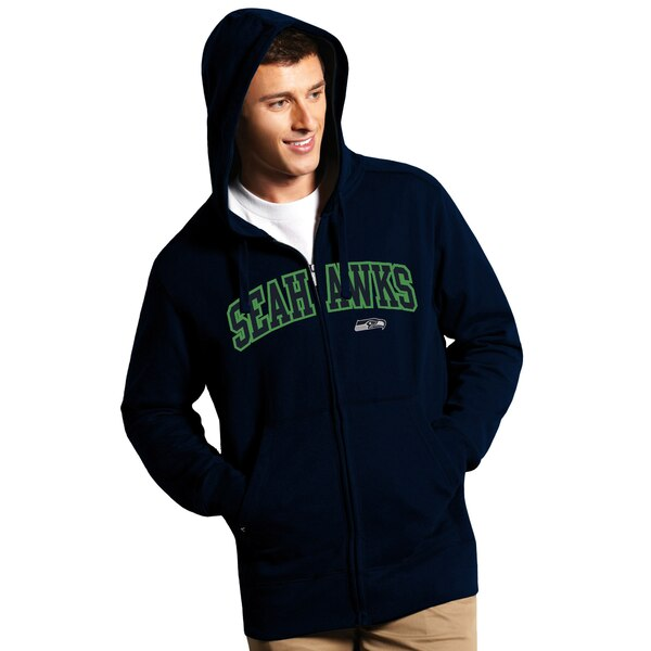 Seattle Seahawks Antigua Signature Full-Zip Hoodie - College Navy
