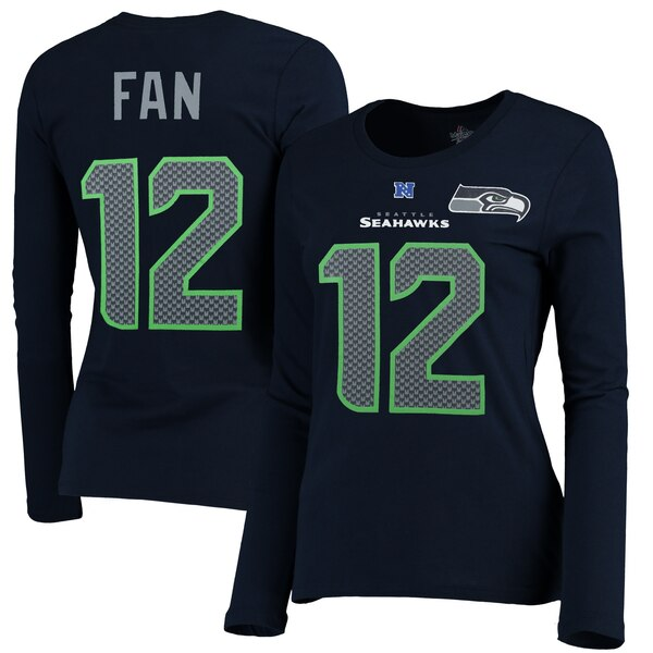 12s Seattle Seahawks Majestic Women's Plus Size Her Catch Player Name & Number Long Sleeve T-Shirt - Navy