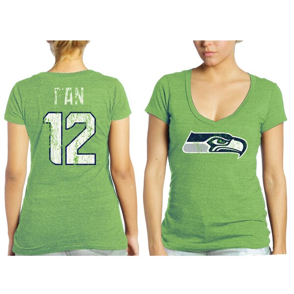 12s Seattle Seahawks Tri-Blend Name & Number T-Shirt - Neon Green