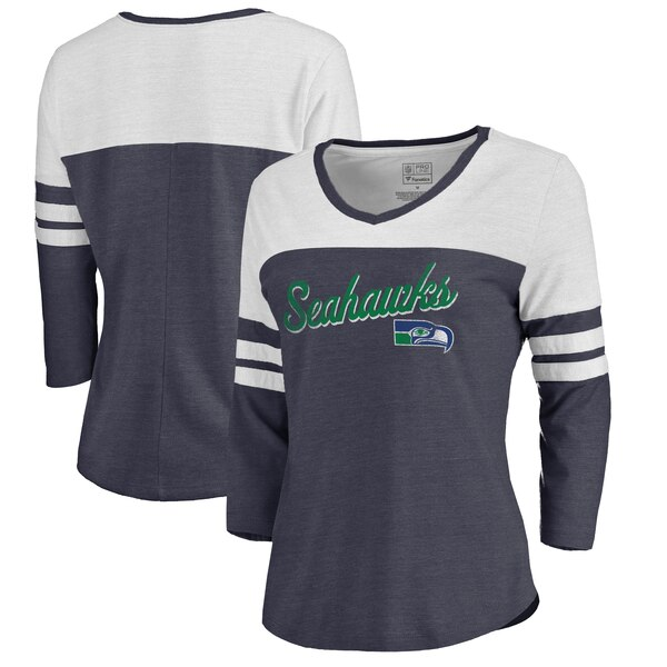 Seattle Seahawks NFL Pro Line by Fanatics Branded Women's Timeless Collection Rising Script Color Block 3/4 Sleeve Tri-Blend T-Shirt - College Navy