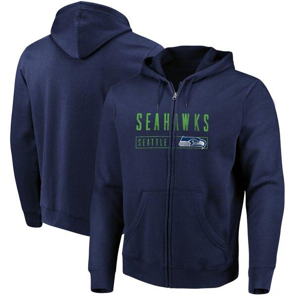 Seattle Seahawks Majestic Hyper Stack Full-Zip Hoodie - College Navy