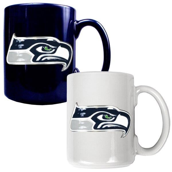 Seattle Seahawks 15oz. Coffee Mug Set - College Navy/White