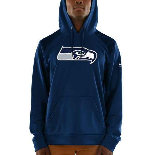 Seattle Seahawks Majestic Armor Synthetic Pullover Hoodie - College Navy
