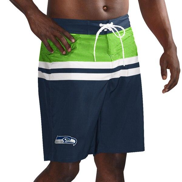 Seattle Seahawks G-III Sports by Carl Banks Interception Swim Trunks - College Navy/Neon Green
