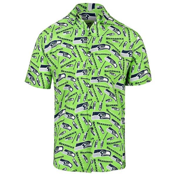 Seattle Seahawks Repeat Logo Button-Up Shirt - Neon Green