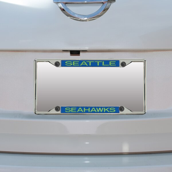 Seattle Seahawks Mirror With Team Color Letters License Plate Frame