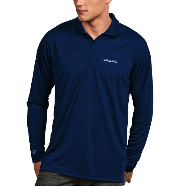 Seattle Seahawks Antigua Exceed Long Sleeve Polo - College Navy