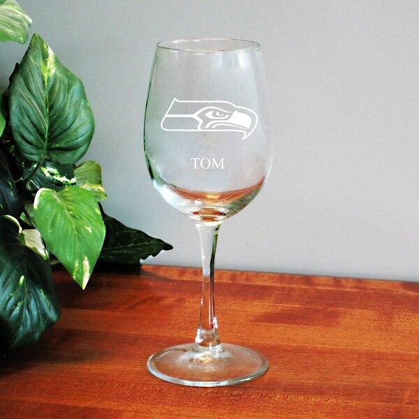 Seattle Seahawks 12oz. Personalized Wine Glass
