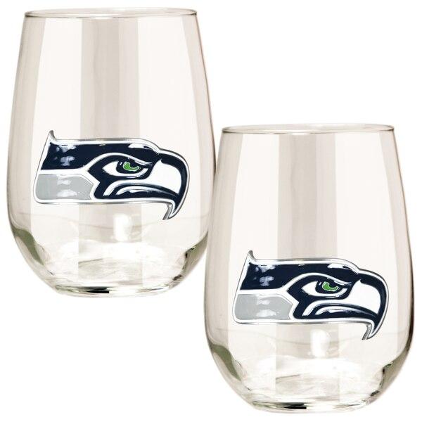 Seattle Seahawks 15oz. Stemless Wine Glass Set