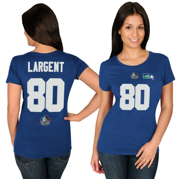 Steve Largent Seattle Seahawks Majestic Women's Hall of Fame Fair Catch Name & Number T-Shirt - College Navy