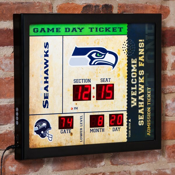 "Seattle Seahawks 23"" x 18"" Bluetooth Scoreboard Wall Clock"