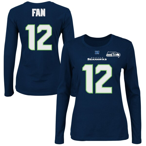 Fan 12 Seattle Seahawks Majestic Women's Fair Catch V Name & Number Long Sleeve T-Shirt - College Navy