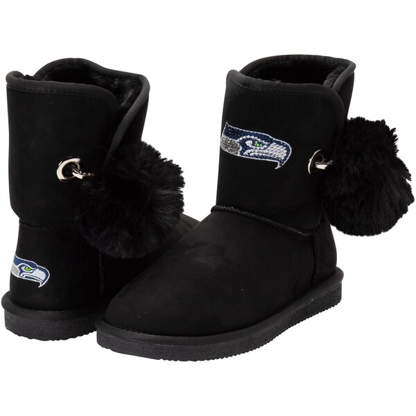 Seattle Seahawks Cuce Women's The Fumble Faux Fur Boots - Black