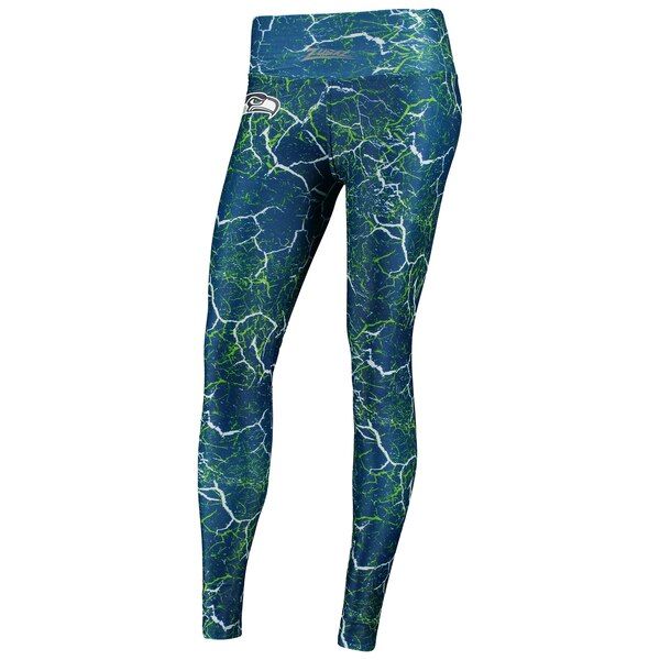 Seattle Seahawks Zubaz Women's Marble Leggings - College Navy/Neon Green