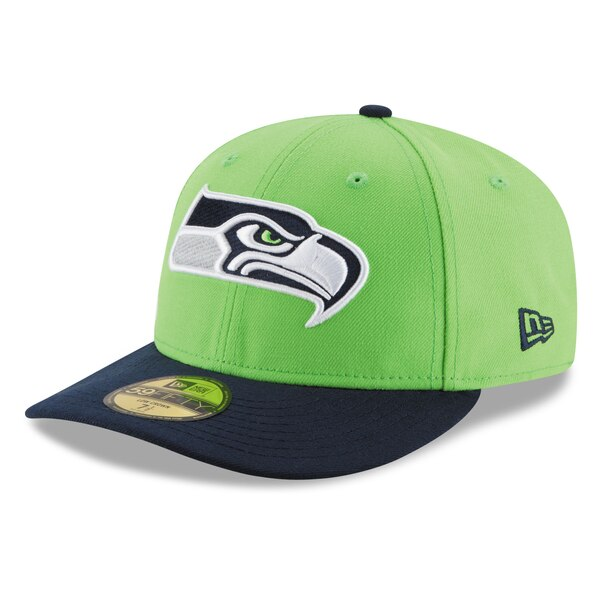 Seattle Seahawks New Era 2T Patched Low Profile 59FIFTY Fitted Hat - Neon Green/College Navy