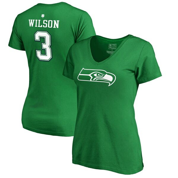 Russell Wilson Seattle Seahawks NFL Pro Line by Fanatics Branded Women's St. Patrick's Day Icon V-Neck Name & Number T-Shirt - Kelly Green