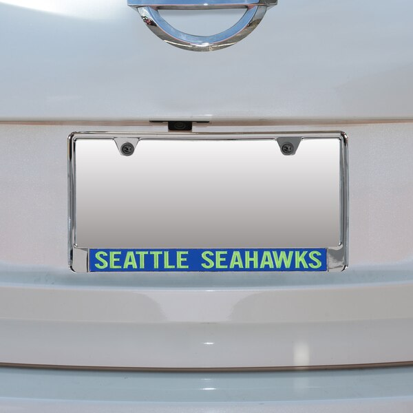 Seattle Seahawks Mirror With Color Letters License Plate Frame