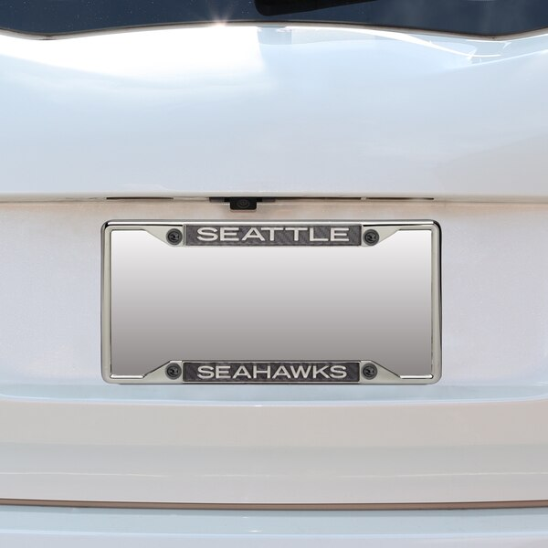 Seattle Seahawks Small Over Small Carbon Fiber License Plate Frame with Matte Letters