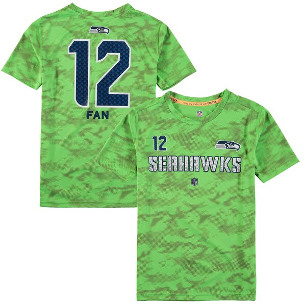 12s Seattle Seahawks Youth Vector Camo Dri-Tek Name & Number T-Shirt - Neon Green