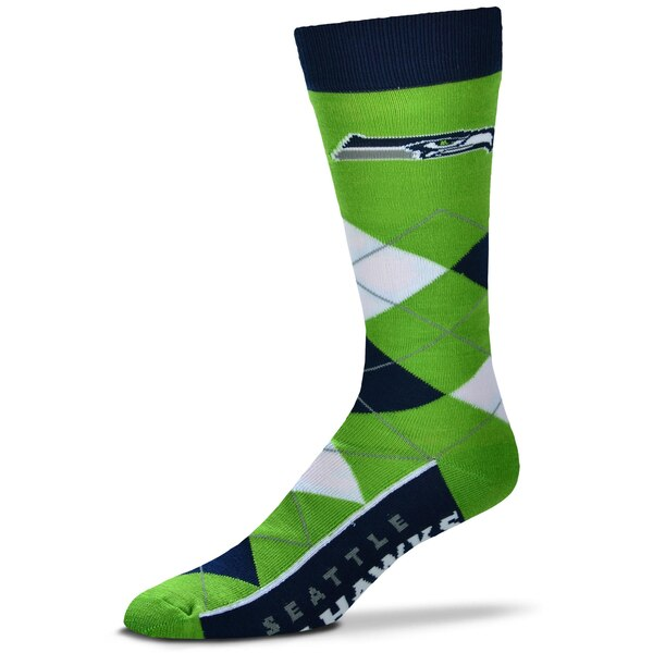 Seattle Seahawks For Bare Feet Argyle Crew Socks
