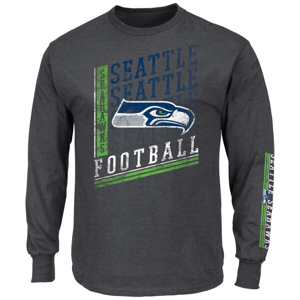 Seattle Seahawks Majestic Big & Tall Dual Threat Long Sleeve T-Shirt - Charcoal