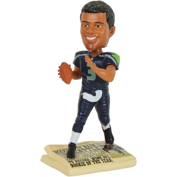 Russell Wilson Seattle Seahawks Newspaper Base Bobblehead Figurine