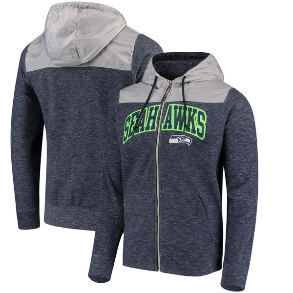 Seattle Seahawks Antigua Exertion Full-Zip Hoodie - College Navy/Silver