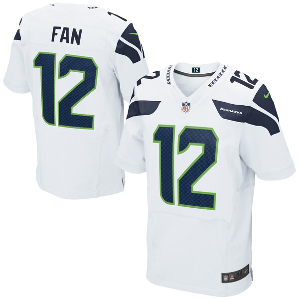 12s Seattle Seahawks Nike Elite Jersey - White