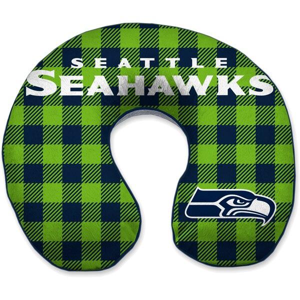Seattle Seahawks Buffalo Check Sherpa Memory Foam Travel Pillow - Blue