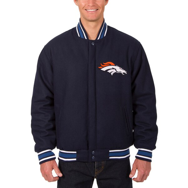 Denver Broncos JH Design Wool Reversible Jacket with Embroidered Logos - Navy