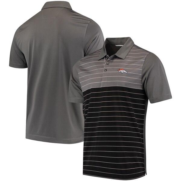 Denver Broncos Cutter & Buck Endeavor Stripe Drytec Polo - Gray/Black
