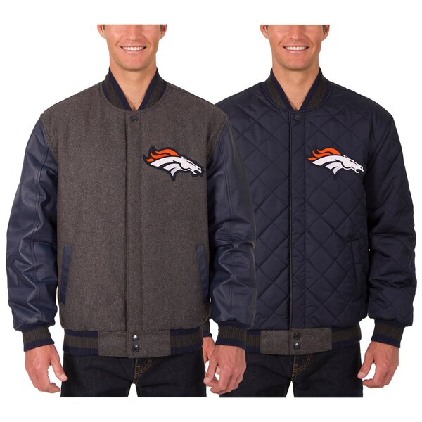 Denver Broncos JH Design Wool & Leather Reversible Jacket with Embroidered Logos - Charcoal