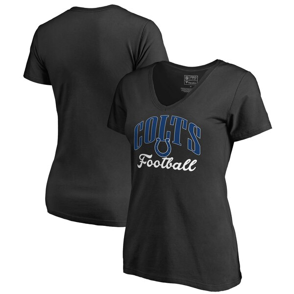 Indianapolis Colts NFL Pro Line by Fanatics Branded Women's Victory Script V-Neck T-Shirt -Black