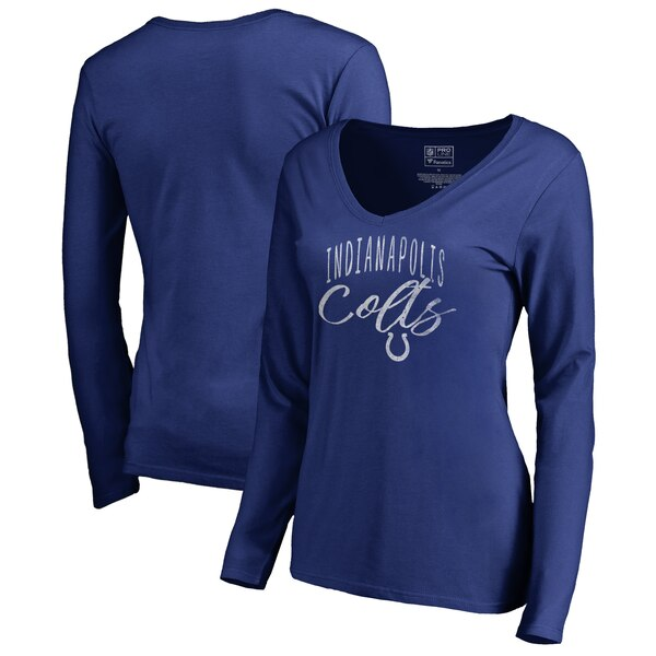 Indianapolis Colts NFL Pro Line by Fanatics Branded Women's Graceful Long Sleeve V-Neck T-Shirt - Royal