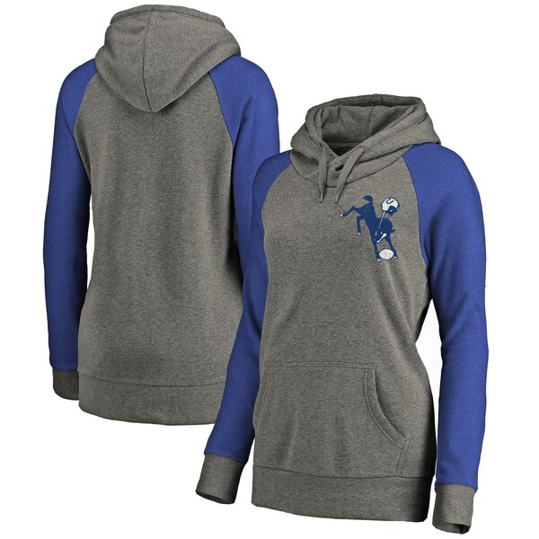Indianapolis Colts Pro Line Women's Lounge Tri-Blend Pullover Hoodie - Gray/Royal
