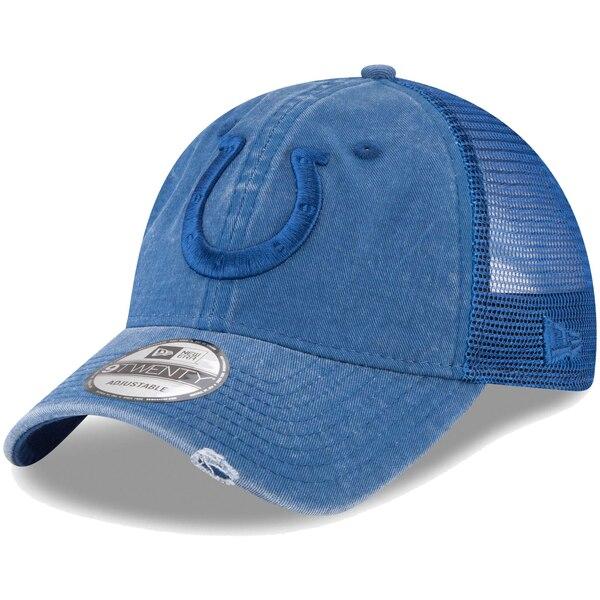 Indianapolis Colts New Era Tonal Washed Trucker 9TWENTY Adjustable Snapback Hat - Royal