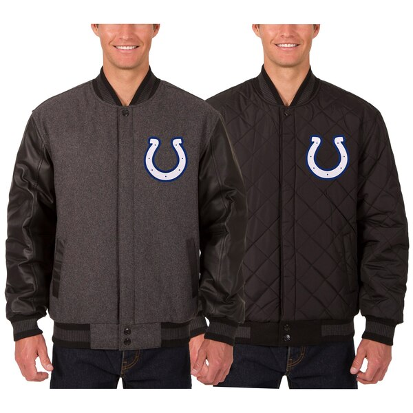Indianapolis Colts JH Design Wool & Leather Reversible Jacket with Embroidered Logos - Charcoal