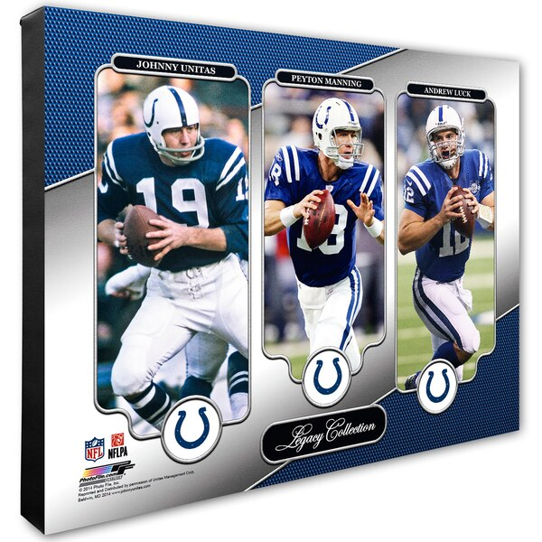"""Andrew Luck, Johnny Unitas & Peyton Manning Indianapolis Colts 16"""" x 20"""" Legacy Canvas"""