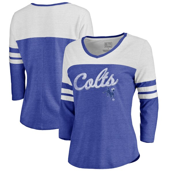 online store 5d1b9 7b047 Indianapolis Colts NFL Pro Line by Fanatics Branded Women's Timeless  Collection Rising Script Color Block 3/4 Sleeve Tri-Blend T-Shirt - Royal