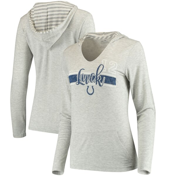 Andrew Luck Women's Indianapolis Colts Pocket Name & Number Hooded T-Shirt - Gray