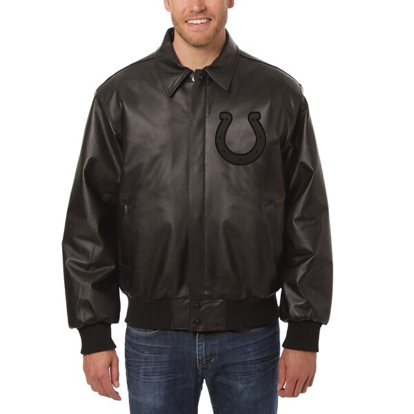 Indianapolis Colts JH Design Tonal All Leather Jacket - Black