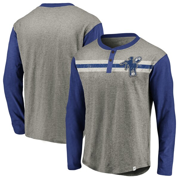 Indianapolis Colts NFL Pro Line by Fanatics Branded Big & Tall True Classics Henley Long Sleeve T-Shirt - Heathered Gray/Royal