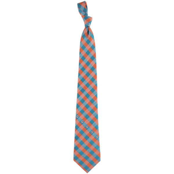 Miami Dolphins Woven Checkered Tie - Aqua/Orange