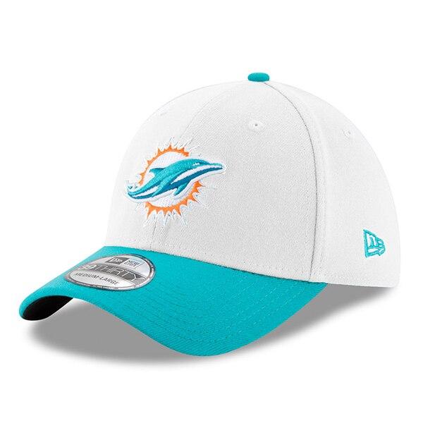 Miami Dolphins New Era Team Classic Two-Tone 39THIRTY Flex Hat - White/Aqua